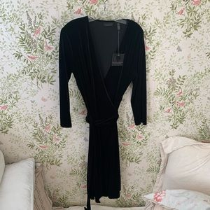 NWT Apostrophe Black Velvet Wrap Dress
